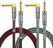 OTraki 2 Pack Guitar Instrument Cable - Right Angle 1/4 Inch TS to Straight 1/4 Inch TS 3 FT / 10 FT Pro Cord