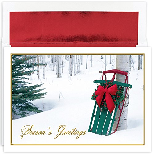 Masterpiece Studios Holiday Collection 16 Cards / 16 Foil Lined Envelopes, Winter Sled ()