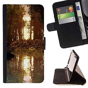 BullDog Case - FOR/LG OPTIMUS L90 / - / Nature Forrest Sun /- Monedero de cuero de la PU Llevar cubierta de la caja con el ID Credit Card Slots Flip funda de cuer