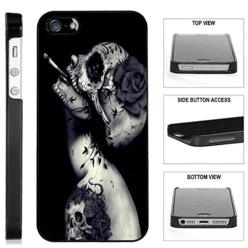 ([TeleSkins] - Plastic Case For iPhone SE / 5S / 5 - Creative Skull Flower Tattoo Design - Ultra Durable Slim Fit, Protective Plastic Snap On Back Case / Cover [consumer_electronics]…)