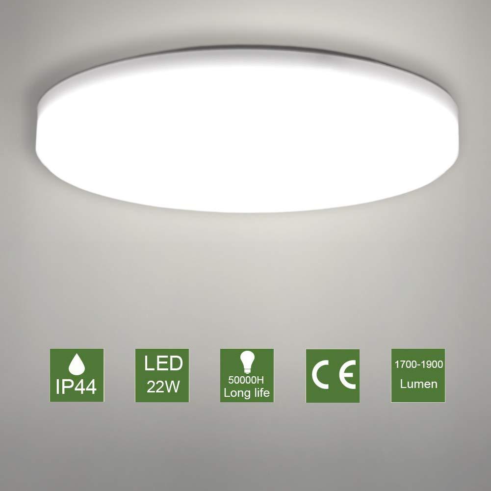 LED Lámpara de Techo,Moderna Plafón Led de Techo Redonda Ultra Delgado Φ30 cm IP44 Impermeable 1900LM 4500K Blanco Natural,LED Plafón para Baño ...