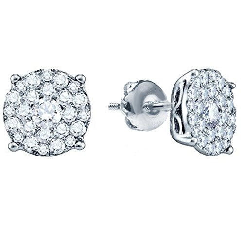 0.50 Carat (ctw) 14K White Gold Round Cut Diamond Round Shape Cluster Earrings Diamond Accent Cluster Earrings