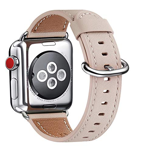WFEAGL Compatible iWatch Band 38mm 40mm, Top Grain Leather Band Replacement Strap for iWatch Series 4,Series 3,Series 2,Series 1,Sport, Edition (Pink Sand Band+Silver Adapter)