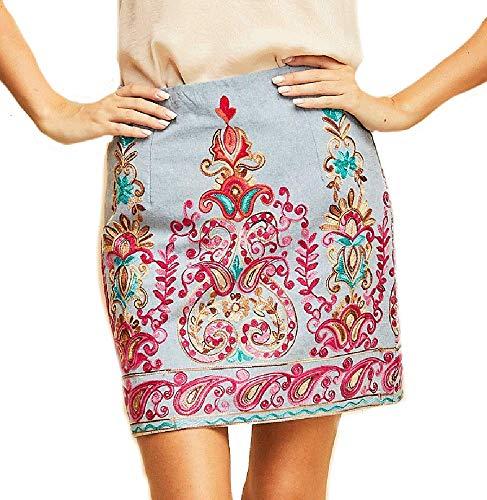 Entro Paisley Pop! Beautifully Embroidered Chambray Skirt (Small, Chambray)