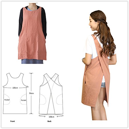 Soft Cotton Linen Apron Solid Color Halter Cross Bandage Aprons Japanese Style X Shape Double Pockets Kitchen Cooking Clothes Gift for Women Chef Housewarming (Wrap Around Apron)