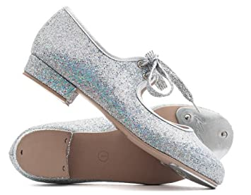 SILVER PU TAP DANCE SHOES TOE TAPS ONLY LOW HEEL GIRLS UK SIZE 4 NEW