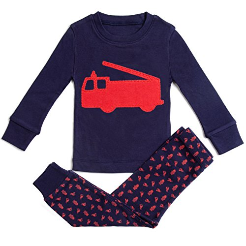 Boys Pajamas Fire Engine 2 Piece 100% Super Soft Cotton (12m-7y),3 Years,Navy/Red
