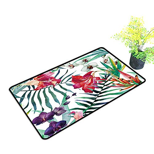 gmnalahome Extra Thick Door Mat Watercolor,Tropical,Pattern,Wallpaper,Background,Birds of Paradise,Orchids Soak Up Water and Dirt W39 x H15 INCH