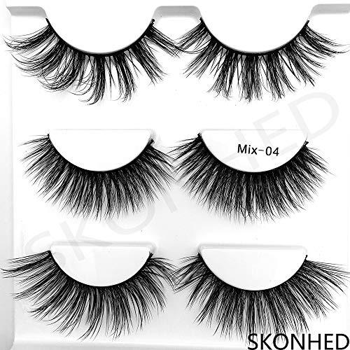 3Pairs Mixed Mink Hair False Eyelashes Thick Cross Long Lashes Wispy Multilayer Fluffy Makeup - Hair Eyelashes Real False