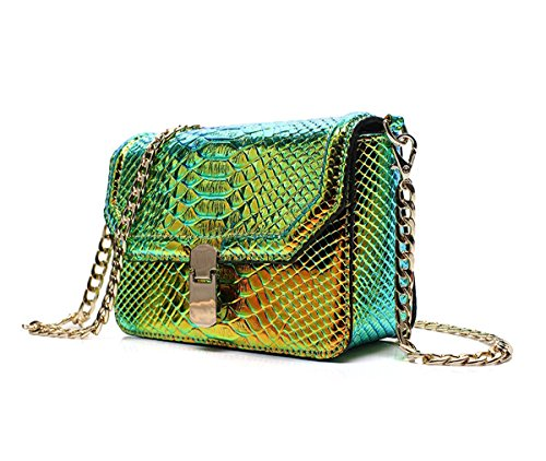 Crossbody Cellphone Bag Bag Hologram with Peiji Snake Shoulder Wallet Girls Leather Green Chain Skin xq04Z