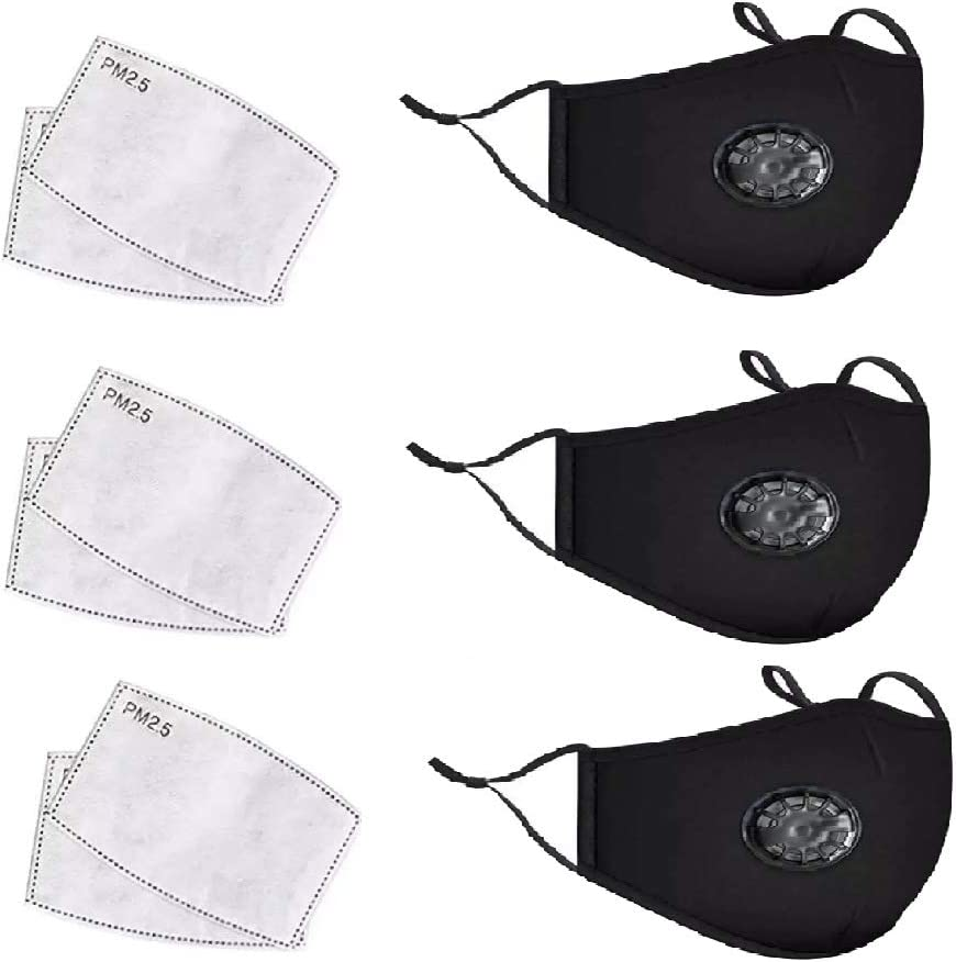 washable cloth mask for outdoors ESOLOM cycling mask against wind pack of 3 with 6 fliters Face mask black