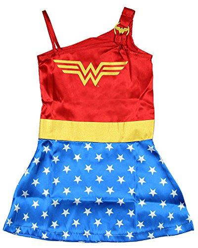 DC Comics Little Girls' Wonder Woman Costume Pajama Nightgown, Blue, 7/8