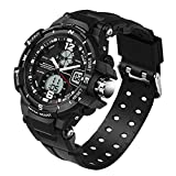 5ATM Multifunction Junior's Students Quartz Outdoor Sports Digital Dual Time Waterproof Watches Black Ages 11-20