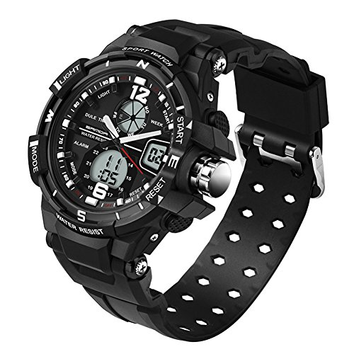5ATM Multifunction Junior's Students Quartz Outdoor Sports Digital Dual Time Waterproof Watches Black Ages 11-20 by GXFCO