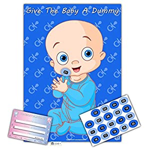 Baby Shower Party Games – GIVE THE BABY A DUMMY – Ultimate A2 edition -20 player (BLUE)