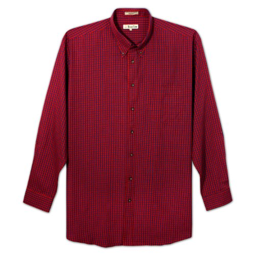Foxfire Long Sleeve Button Down Easy Care Plaid Shirt for Big and Tall (Red 6X-T)