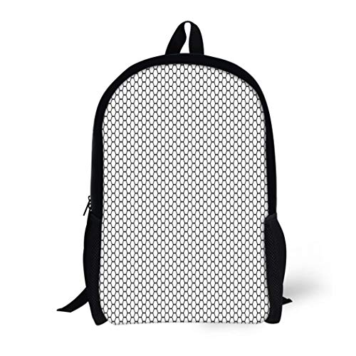 Pinbeam Backpack Travel Daypack Net Grid Hexagonal Cell Honeycomb Speaker Grille Hexagon Waterproof School Bag ()