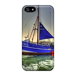 Awesome LastMemory Defender PC Hard For SamSung Galaxy S5 Phone Case Cover - Blue Sailboat Docked Hdr