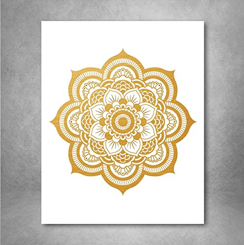 Free Gold Foil Art Print - Mandala Gold Foil Print Design 8x10 inches