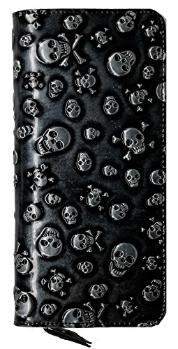 Price comparison product image ABC STORY Women Cute Sugar Skull Zipper Coins Clutch Wallet Purse Black For Teen Girls