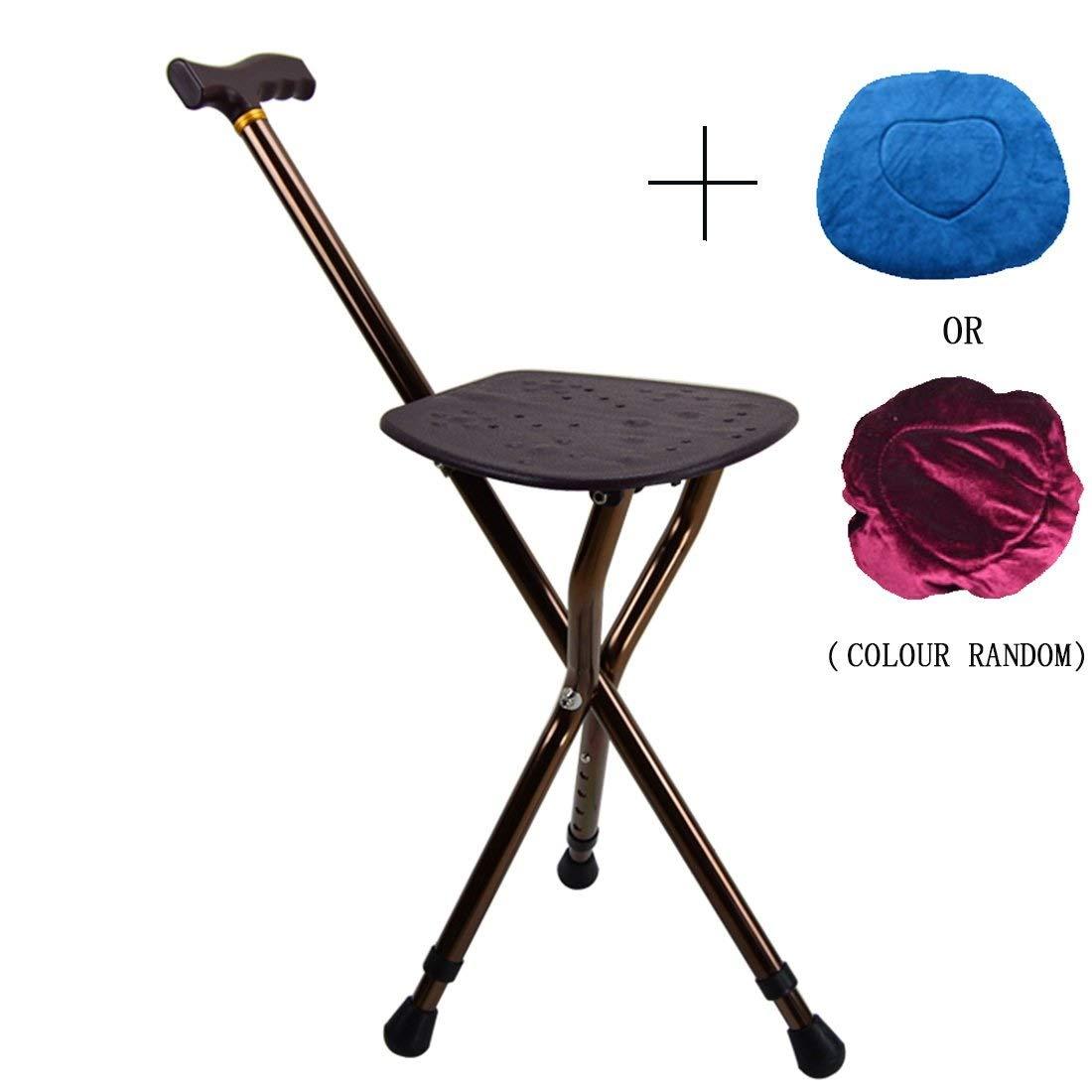 TLANG WALKER Walking Frame, Multifunctional Crutches Seat Folding Seat CaneAluminum AlloyHeight AdjustableDouble Height 5 Gear AdjustmentStatic Loading 150kg for Elderly Disabled