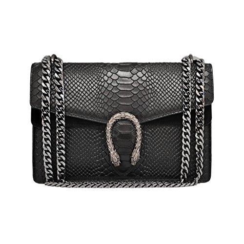 RACHEL REPTILE Italian clutch shoulder crossbody chain bag, designer handbag, evening purse, suede flap bag, fashion tote, suede genuine leather (reptile black) (Gucci Shoulder Fashion Handbag)