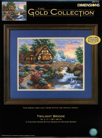 Dimensions 35172 Gold Collection Twilight Bridge Counted Cross Stitch Kit-14X11 18 (Gold Collection Twilight Bridge)