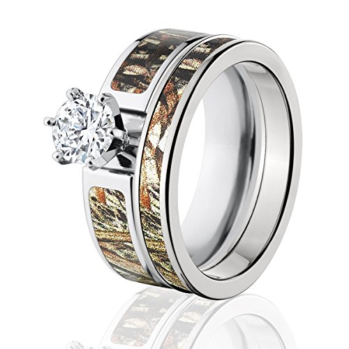Mossy Oak Camo Bridal Set, Camo Wedding Rings, Duck Blind Camo Rings