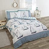 NAUTICAL SAILING BOATS ANCHORS BLUE WHITE COTTON BLEND CANADIAN QUEEN SIZE (COMFORTER COVER 230 X 220 - UK KING SIZE) (PLAIN WHITE FITTED SHEET - 152 X 200CM + 25 - UK KING SIZE) 4 PIECE BEDDING SET