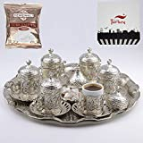 Turkish Greek Arabic Coffee Serving Cup Saucer Gift Set (SILVER)