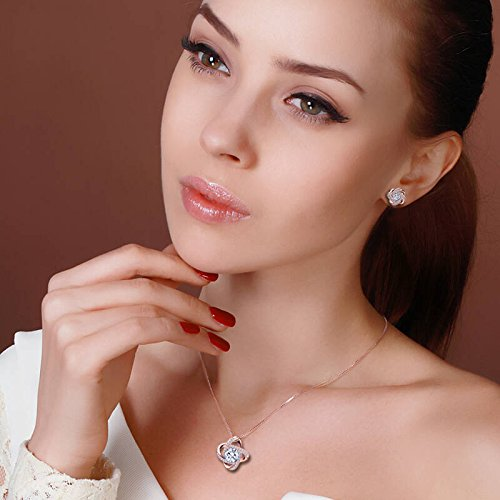 Crystal Jewelry Set for Women - Elegant Rose Gold Jewelry Set for Wedding Bridal Crystal Cubic Zirconia Love Knot Pendant Necklace Earrings for Party Prom Valentine's Day Fashion Jewelry Gift Set by AMYJANE (Image #1)