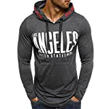 Clearance Sale Fashion Sweatshirts for Men vermers Men's Autumn Print Long Sleeve Pullover Hoodie T Shirts Tops(M, Gray)