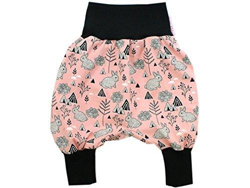 Kleine Könige Pantalon Bouffant Pantalon pour Bébé Fille Sarouel Lapin Lapin Rose Noir