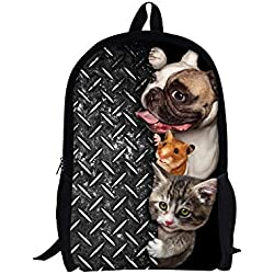 TOREEP Creative Cat Dog Printed Multifunctional Men Women Casual Backpack(Big)