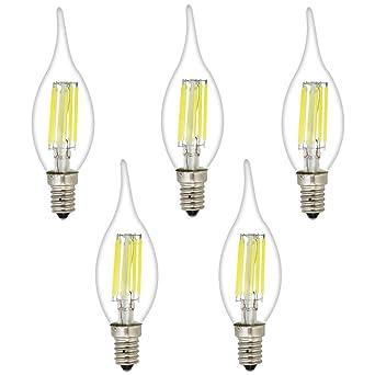5 pieza C35 E14 LED Velas lámpara 6 W, 45 W bombillas similar, 6000 K frío blanco las velas E14 Bombillas, 450 lm, bombilla led, rosca Edison Screw ...