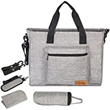 Diaper Bag Backpack - Ollimy Tote Messenger Bag Organizer - Baby Bags for Mom Dad– Large Capacity Travel Diaper Crossbody Bags with Stroller Straps Changing Pad Insulated Pockets for Girls Boys (Grey)