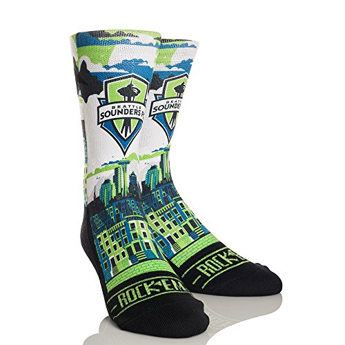 MLS Seattle Sounders Fc City Skyline Custom Athletic Crew Socks, Large/X-Large, Green/Blue - Sounders Gear