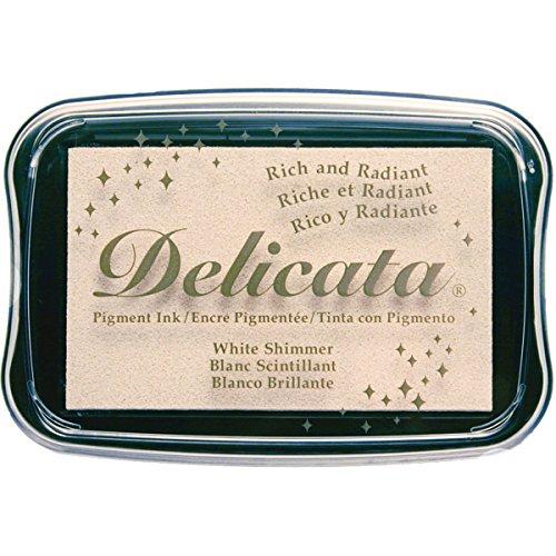 Tsukineko Delicata White Shimmer Metallic Pigment Inkpad,