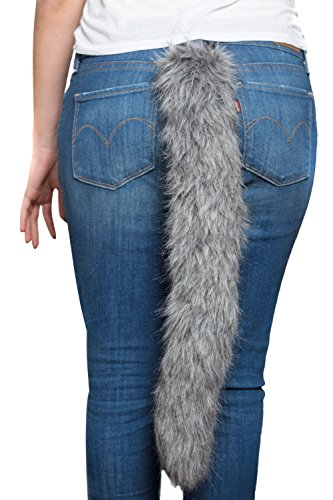 Wolf Tail Costume (HMS Men's Wolf Tail 22 Inch Long, Grey, One Size)