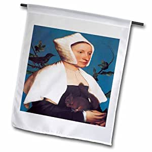 "3dRose fl_149574_2 ""A Lady with A Squirrel and A Starling By Hans Holbein The Younger"" Garden Flag, 18 x 27"""