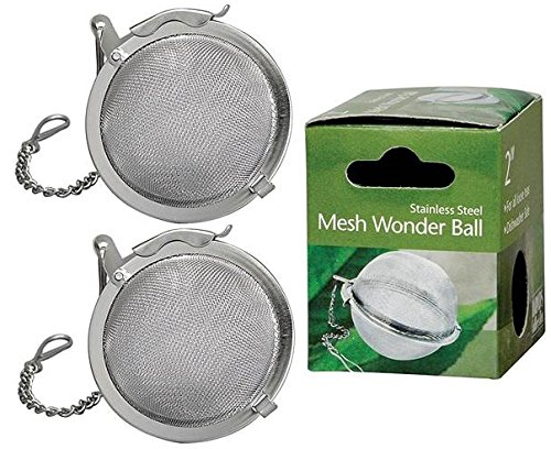 Set of 2 HIC Mesh Tea Ball Loose Leaf Tea Infuser Strainer and Herbal Infuser, 18/8 Stainless Steel, 2-Inch