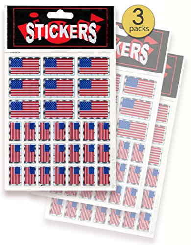 AoneFun 3 Sheets - 90 Pieces - USA Flag Stickers - American Flag Stickers - USA Flag Decals - USA Flag Seals - Shiny Prism Stickers - Patriotic Stickers - - Prism Decal