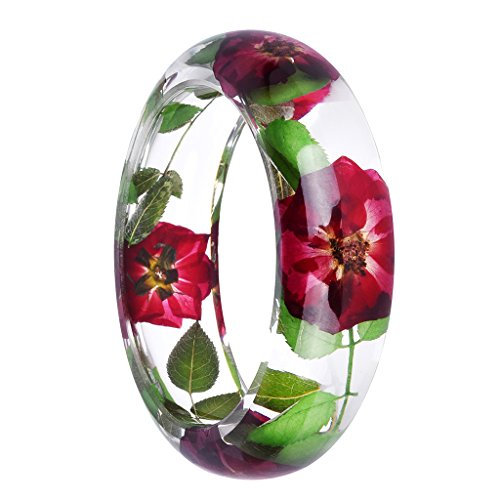 Jili Online Handmade Lucite Plastic Dried Flower Incased Resin Womens Bracelet Cuff Bangle Multi-color - Multi-color 3 (Cuff Lucite Bracelet)