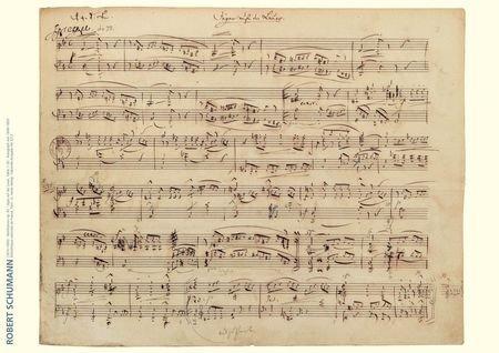 Schumann Music Manuscript Poster: Jäger auf der Lauer from Waldszenen, Op. ()