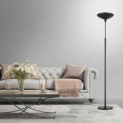 Globe Electric 12784 LED Floor Lamp Torchiere, Energy Star Certified, Dimmable Super Bright, 43W, 3000 Lumens, 1 x 43W Integrated LED, 12.99'' x 12.99'' x 70.9'', Black Satin Finish by Globe Electric (Image #6)
