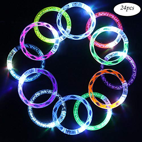 24 Pack Flashing Colorful LED Grow Bracelets with 6 Spare Batteries For Wedding, Birthdays, Concert, Night Games Fun Events