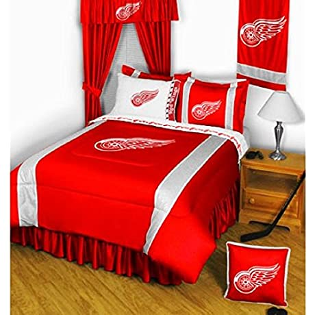5 Piece NHL Detroit Redwings Comforter King Set Sports Patterned Bedding Featuring Team Logo Fan Merchandise Team Spirit Ice Hockey Themed National Hockey League Red Grey For Unisex