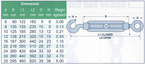 Galv Rigging Screw 6mm Hook to Eye Straining Screw Turnbuckle Barrel Strainer