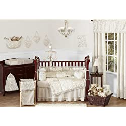Sweet Jojo Designs Champagne and Ivory Victoria Baby Bedding 9 piece Girl Crib Set
