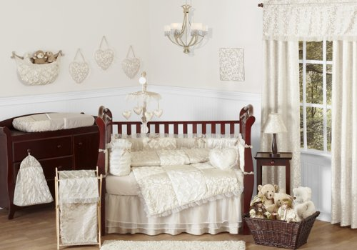 Champagne & Ivory Taffeta, Voile and Cotton 9 Piece Shabby Chic Crib Bedding Set